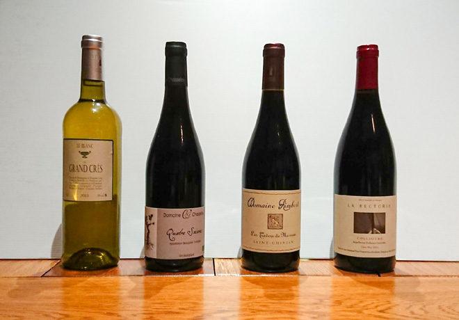 Sélection de vins : vin de pays d'Oc, Beaujolais, Collioure, Saint Chinian